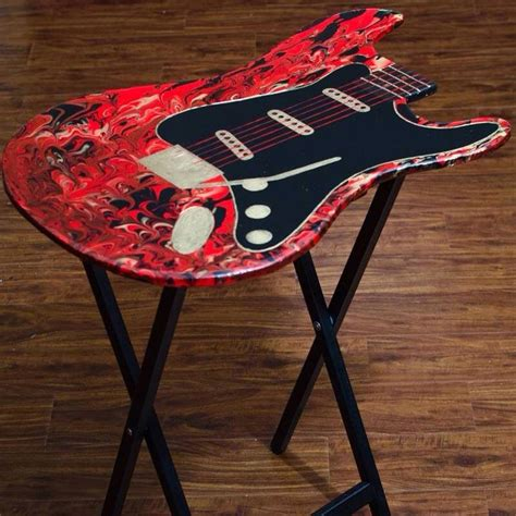 guitar shaped tv fold  tables rock  designs painted