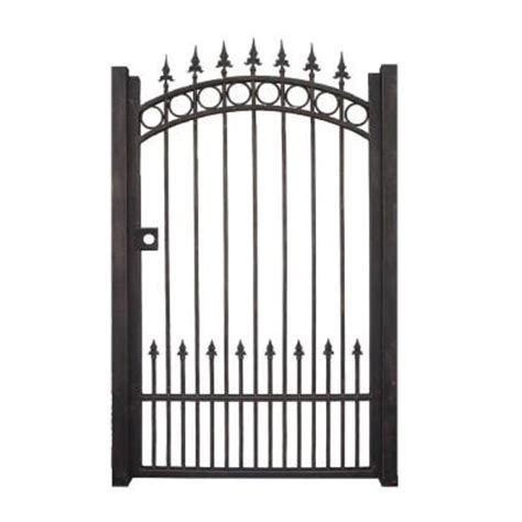 trento 3 5 ft w x 6 ft h black garden metal gate trgg