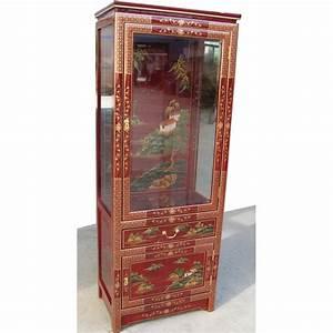 Meuble Chinois Rouge : vitrine chinoise laque rouge promodiscountmeubles ~ Teatrodelosmanantiales.com Idées de Décoration