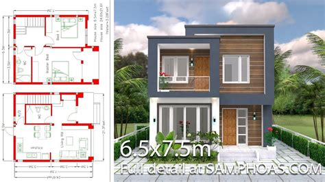 Small House Design with Full Plan 6 5x7 5m 2 Bedrooms