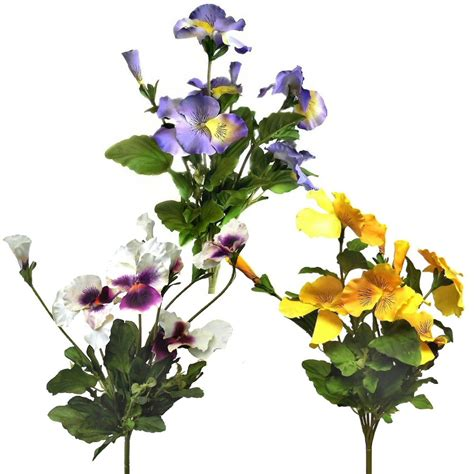 sets of 3 artificial pansy bushes decorative outdoor