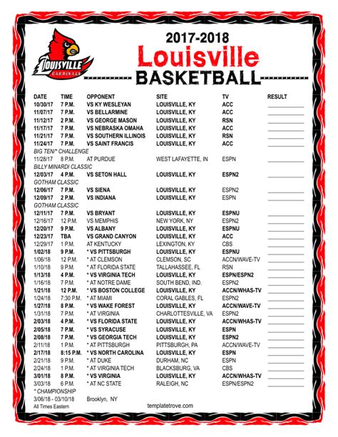 printable   louisville cardinals basketball schedule