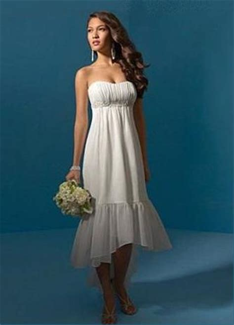 simple strapless chiffon high  casual wedding dress