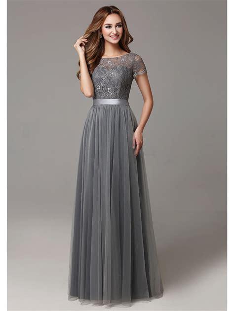 2017 Grey Long Modest Lace Tulle Floor Length Women
