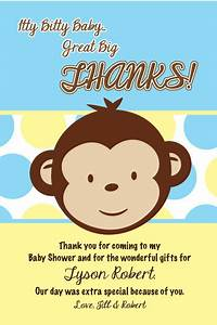 Mod Monkey Boy Thank You Cards Baby Shower Printable 1st