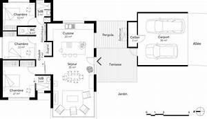 plan maison moderne de plain pied 3 chambres ooreka With plan maison en longueur 1 plan maison 3d dappartement 2 piaces en 60 exemples