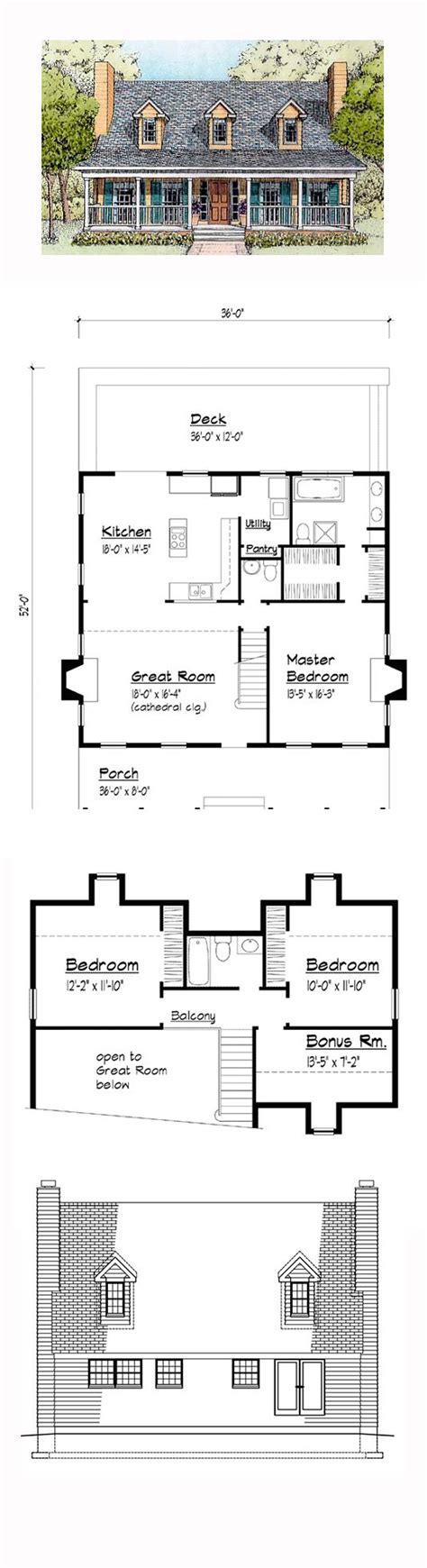 Country Style House Plan 41021 with 3 Bed 3 Bath