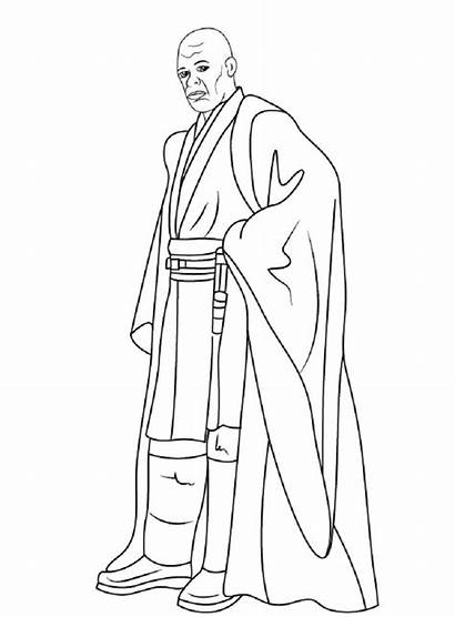 Mace Coloring Windu Pages Wars Star Sheets
