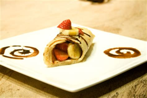 soy milk crepes  nutella strawberries  bananas