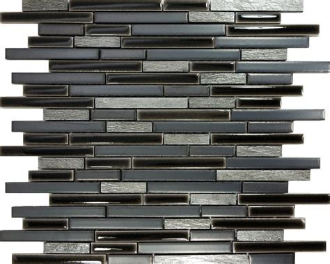 SAMPLE  Black Gray Natural Stone Porcelain Blend Mosaic