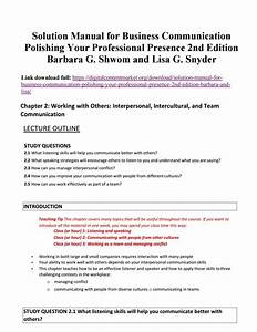 Solution Manual For Business Communication Polishing Your