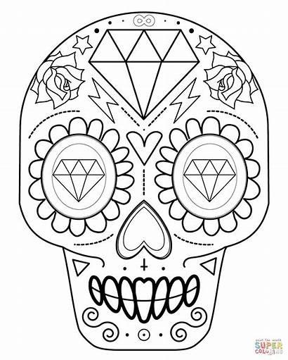Skull Sugar Coloring Pages Simple Skulls Printable