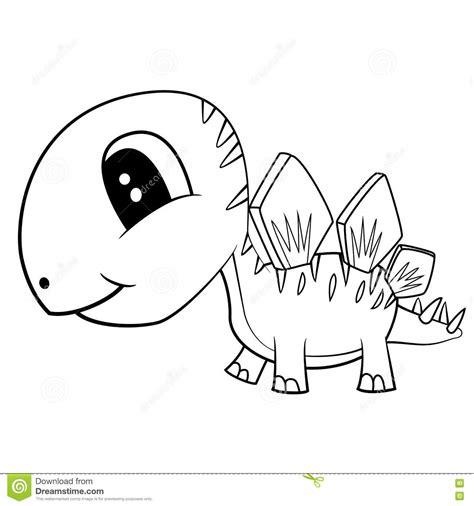 Kleurplaat Hupie by Netter Schwarzweiss Karikatur Baby Stegosaurus Dinosaurier