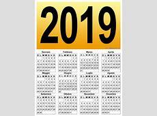 Calendario verticale grafico del 2019