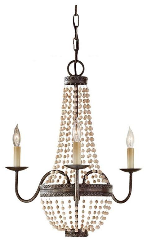 bronze  wooden bead mini chandelier traditional