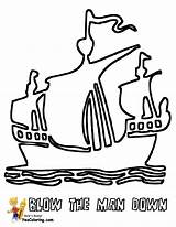 Pirate Ship Coloring Pages Print Sails Three Boats Boys Seas Colouring Yescoloring Pirates Tall sketch template