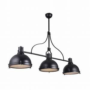 Suspension Luminaire Industriel : suspension lumi re lampa style industriel noir avec 3 clairage ~ Teatrodelosmanantiales.com Idées de Décoration