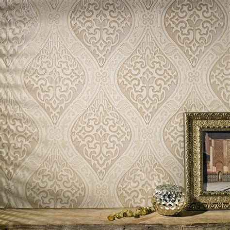 labyrinth damask wallpaper designer cream wall coverings