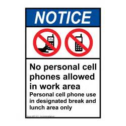 No Cell Phones Allowed at Work Sign