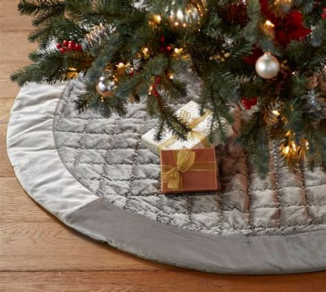 shiny velvet quilted tree skirt gray pottery barn