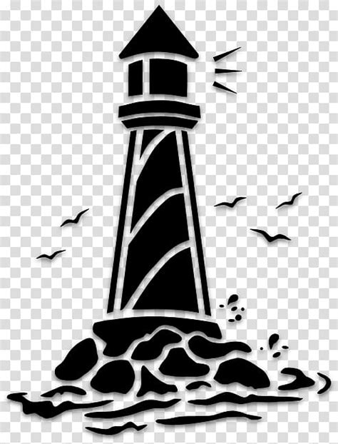 light stencil drawing lighthouse silhouette tower