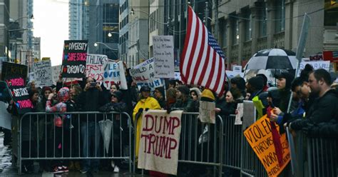 trump anti signs protest toronto saw weekend