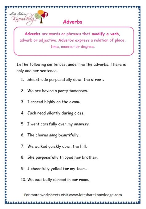 grade 3 grammar topic 16 adverbs worksheets lets