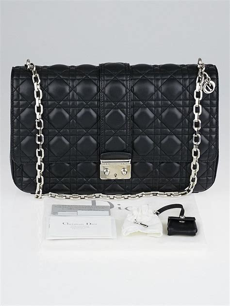 christian dior black cannage quilted lambskin leather  dior large flap bag yoogis closet