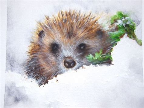 Hedgehog Winter Watercolour Art