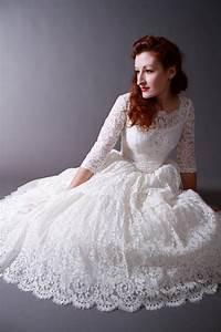 Vintage 1950s Tea Length New Look Wedding Dress Of ...