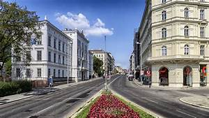 Street View with buildings and road in Vienna, Austria ...