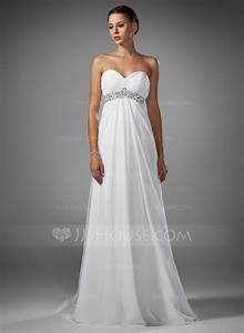 empire sweetheart sweep train chiffon wedding dress with With sweep train wedding dress