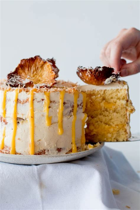 gluten  pineapple coconut cake  passionfruit curd