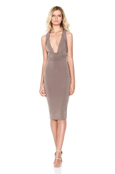 Khaki Cherish Midi Dress Buy On Sale Now