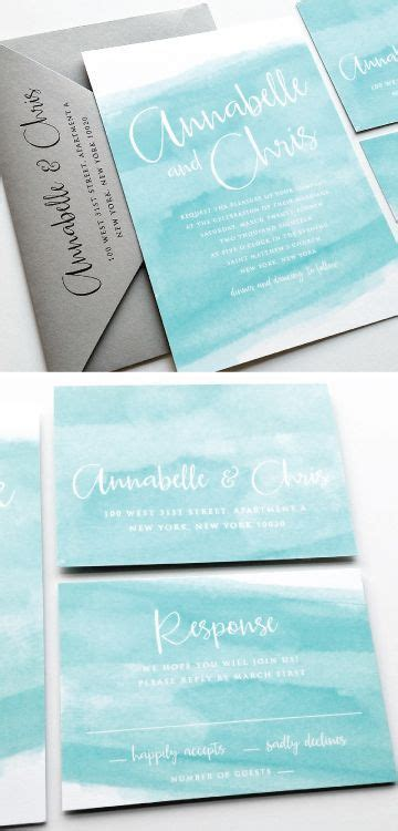 annabelle aqua watercolor beach wedding invitation sample