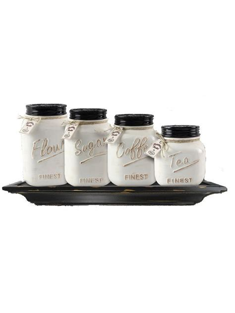 Off White Canister Mason Jar Set of 4   Accent Pieces