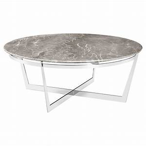 alexys grey marble round steel coffee table kathy kuo home With grey marble top coffee table