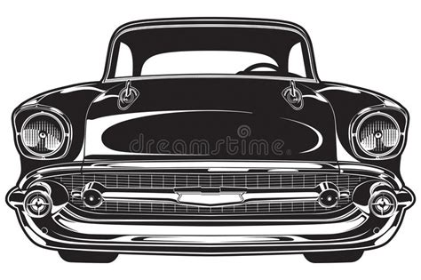 Classic Car Front Stock Vector. Illustration Of Cars