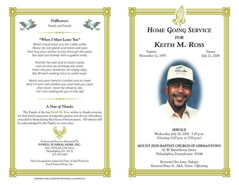 Free Printable Funeral Program Template Free Funeral Program Template Microsoft Publisher