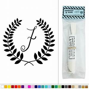 letter f monogram calligraphy laurel wreath vinyl sticker With letter f wall decor