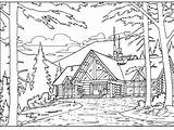 Cabin Coloring Wood Printable Play Both sketch template