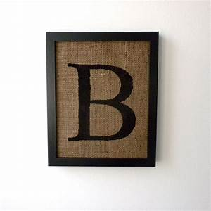 letter b burlap wall decor alphabet art monogram With wall art letters
