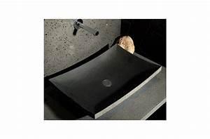 Vasque à Poser Salle De Bain : 60x40 vasque de salle de bain en pierre poser basalte ~ Edinachiropracticcenter.com Idées de Décoration