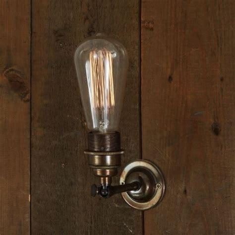 antique brass vintage wall light for use with edison