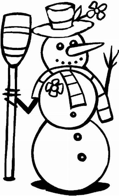 Coloring Winter Pages Printable Snowman Simple Sheets