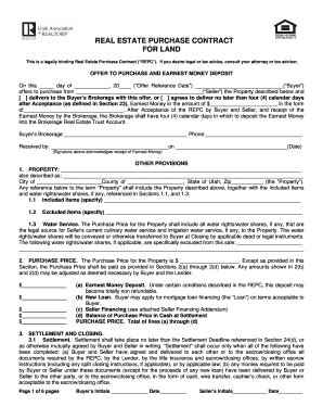 utah real estate purchase contract fill