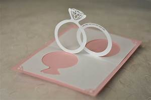 wedding invitation pop up card linked rings creative With wedding invitation linked rings pop up card template