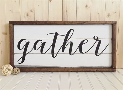gather wood sign framed rustic home decor wall