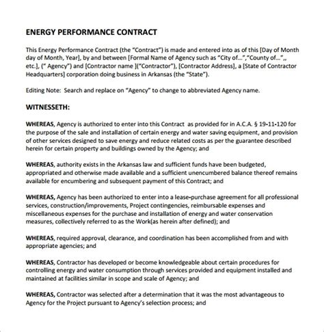 performance contract template 14 free documents in pdf word docs apple pages