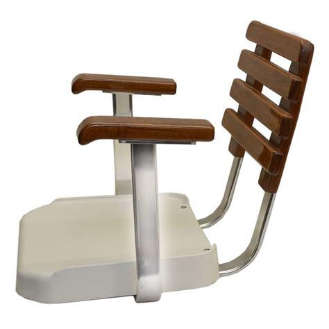 Pompanette Boat Chairs by Pompanette T3373 Posi Teak Fiberglass Boat Helm Seating